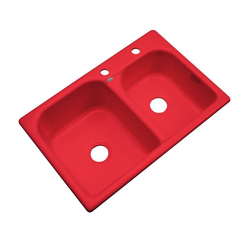 Thermocast Cambridge Drop-In Acrylic 33 in. 2-Hole Double Basin Kitchen Sink in Red