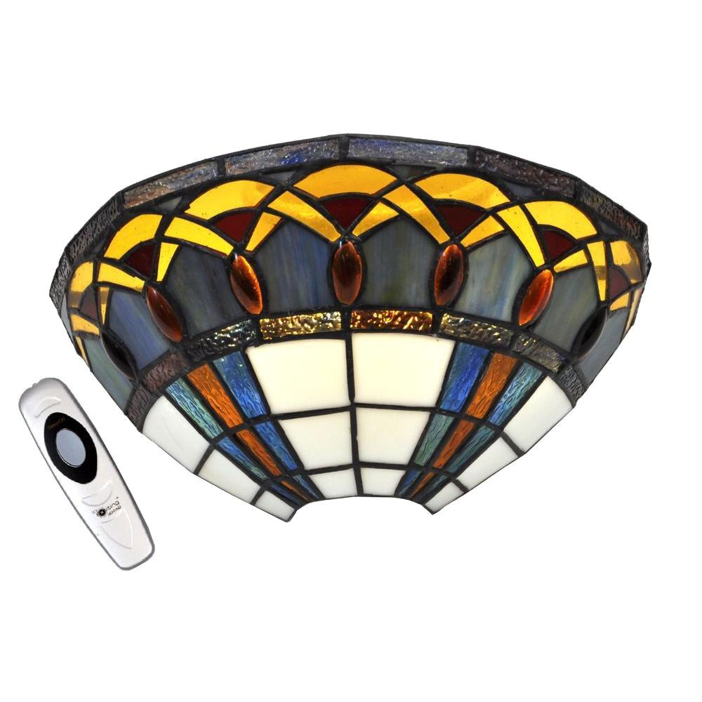 Stained Glass Half Moon with Jewels LED Sconce with 3 Stage