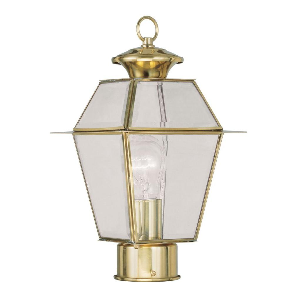 Livex Lighting Providence 12.75 in. Outdoor Polished Brass Post Head