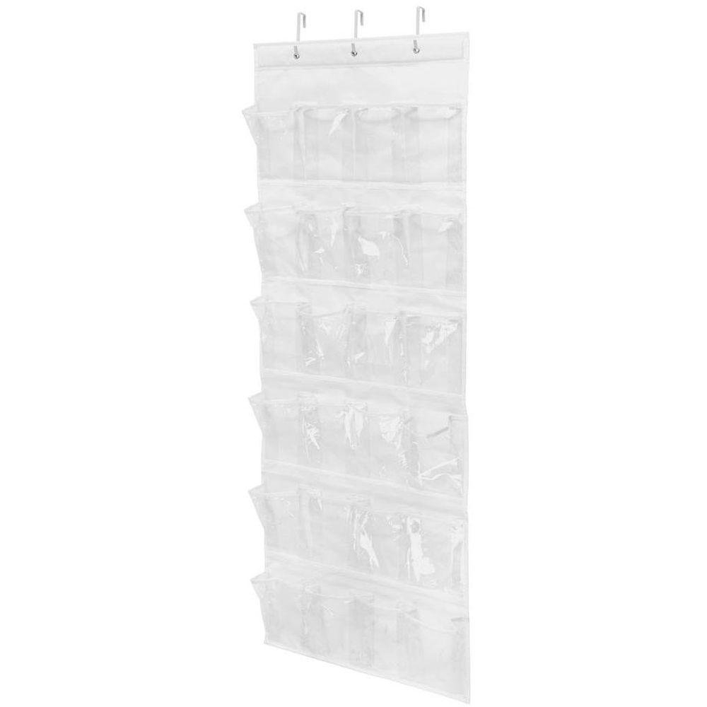 Over-the-Door 24-Pocket Polyester Shoe Organizer in White