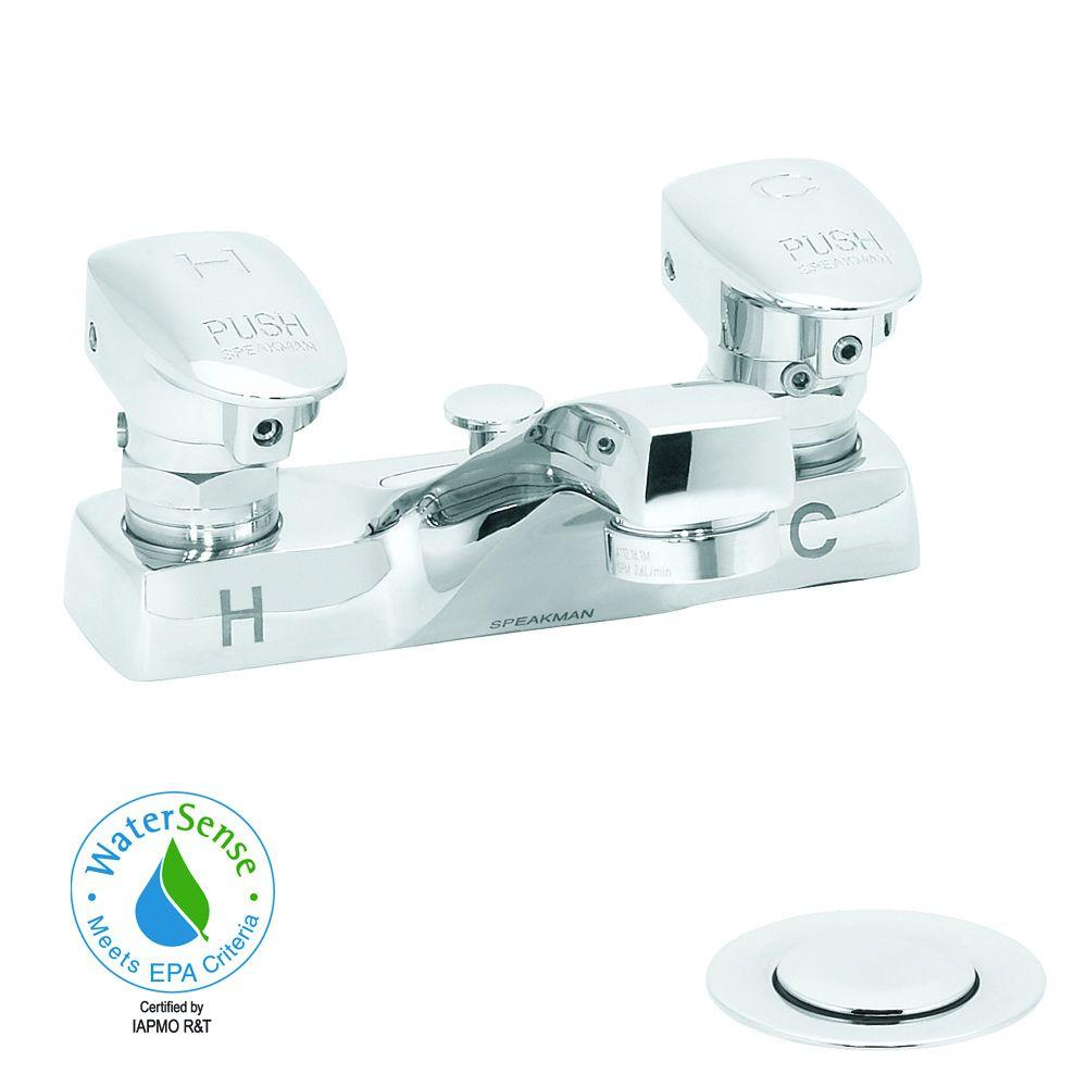 Speakman Easy-Push 4 in. Centerset 2-Handle Bathroom Faucet in Polished Chrome with Push Button Handles