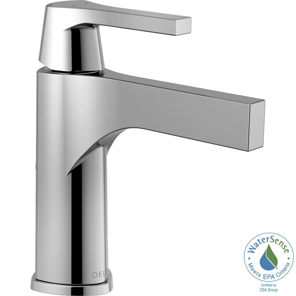 Zura Single Hole Single-Handle Bathroom Faucet with Metal Drain Assembly in