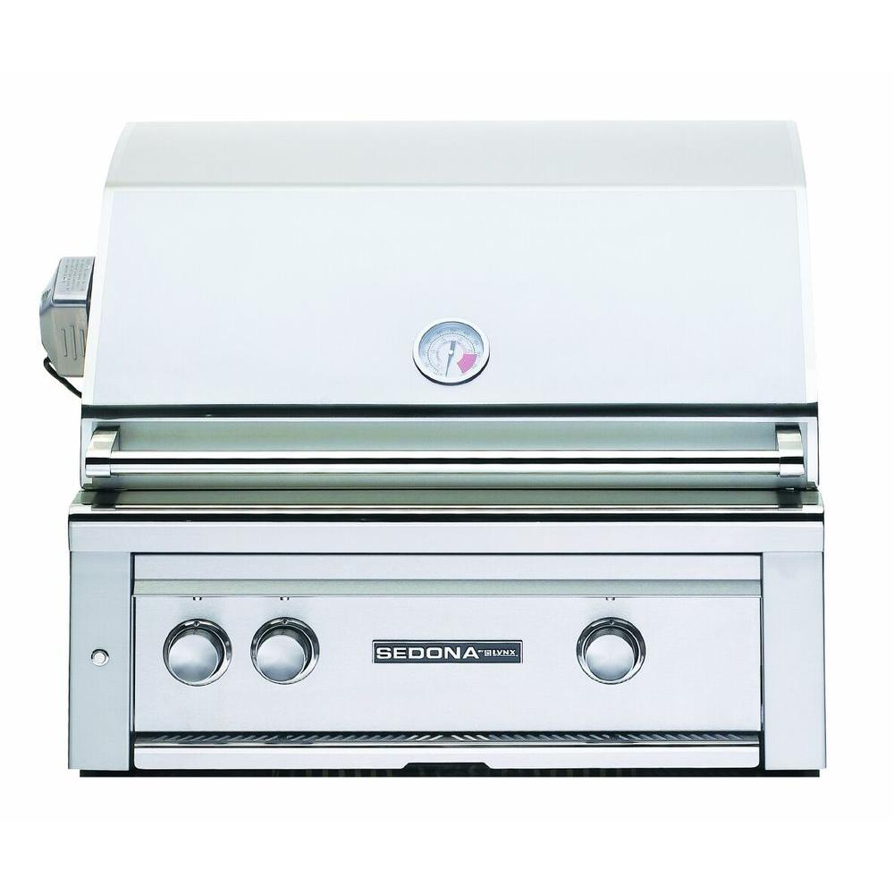 2-Burner Built-In Stainless Steel Natural Gas Grill with Rotisserie