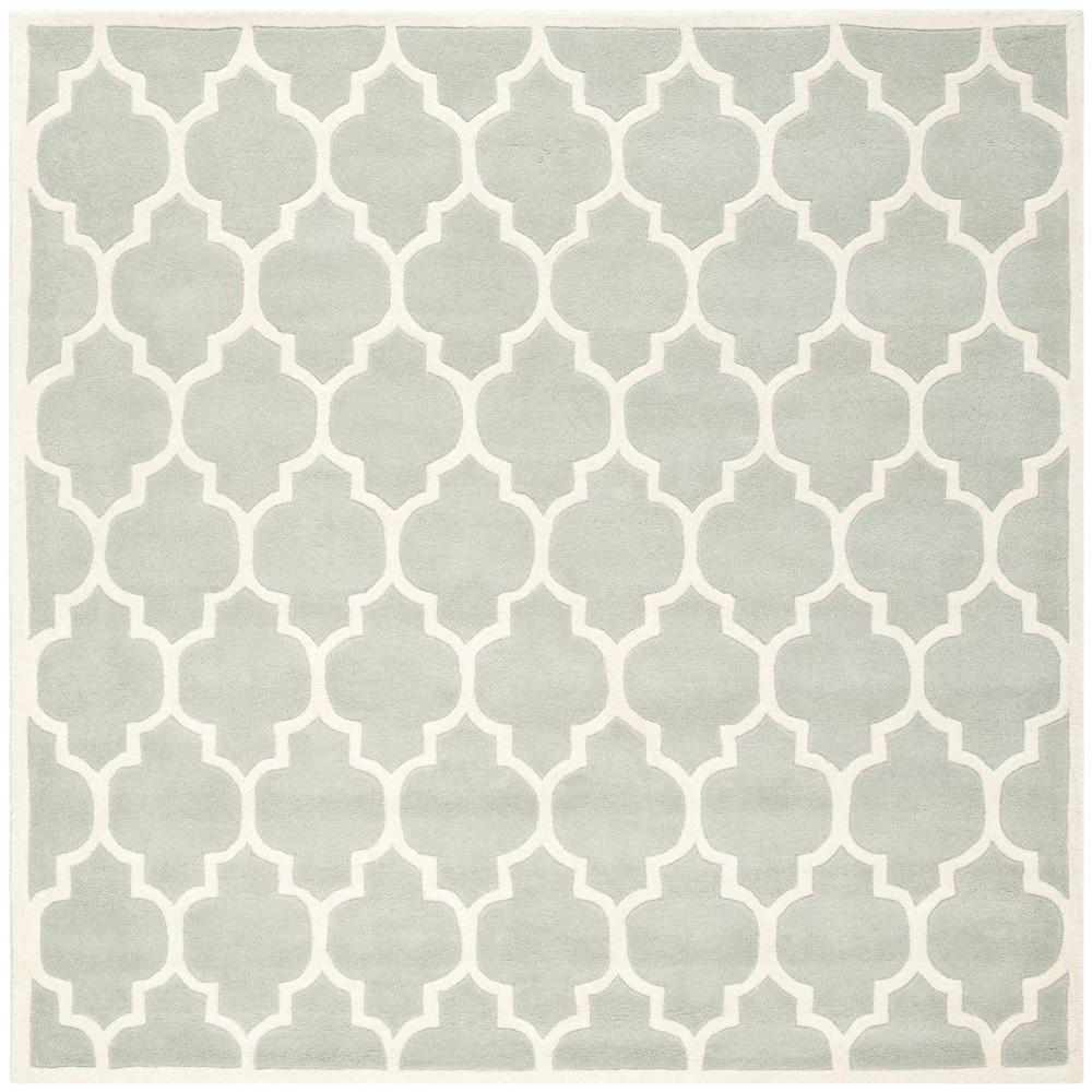 Safavieh Chatham Grey/Ivory 5 ft. x 5 ft. Square Area Rug-CHT734E-5SQ