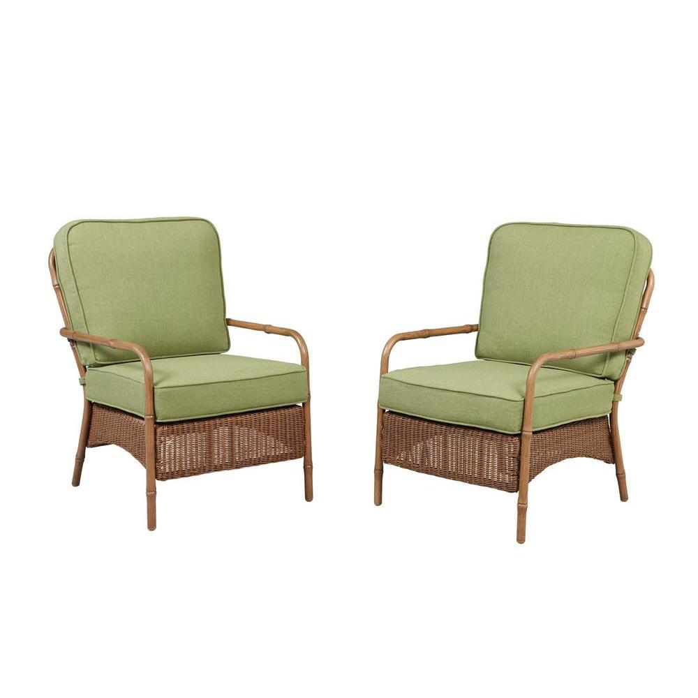 Hampton Bay Clairborne Patio Lounge Chair with Moss Cushion (2-Pack)