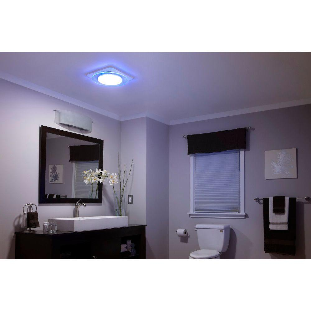 Nutone Lunaura Round Panel Decorative White 110 Cfm Exhaust Bath Fan With Light And Blue Led Night Light Energy Star Qtnleda The Home Depot