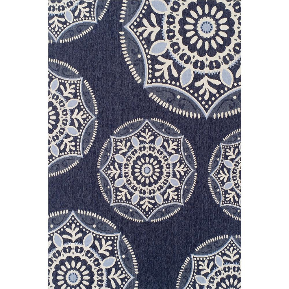 Hampton Bay Coastal Medallion Blue 7 Ft. 5 In. X 10 Ft. 8