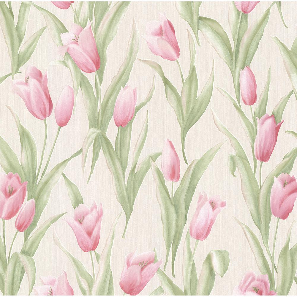 56.4 sq. ft. Denning Pink Satin Tulip Texture Wallpaper