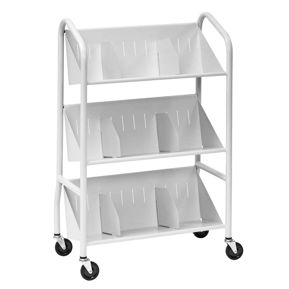 Buddy Products 29 in. W Sloped 3-Shelf Book Cart with Dividers in Platinum