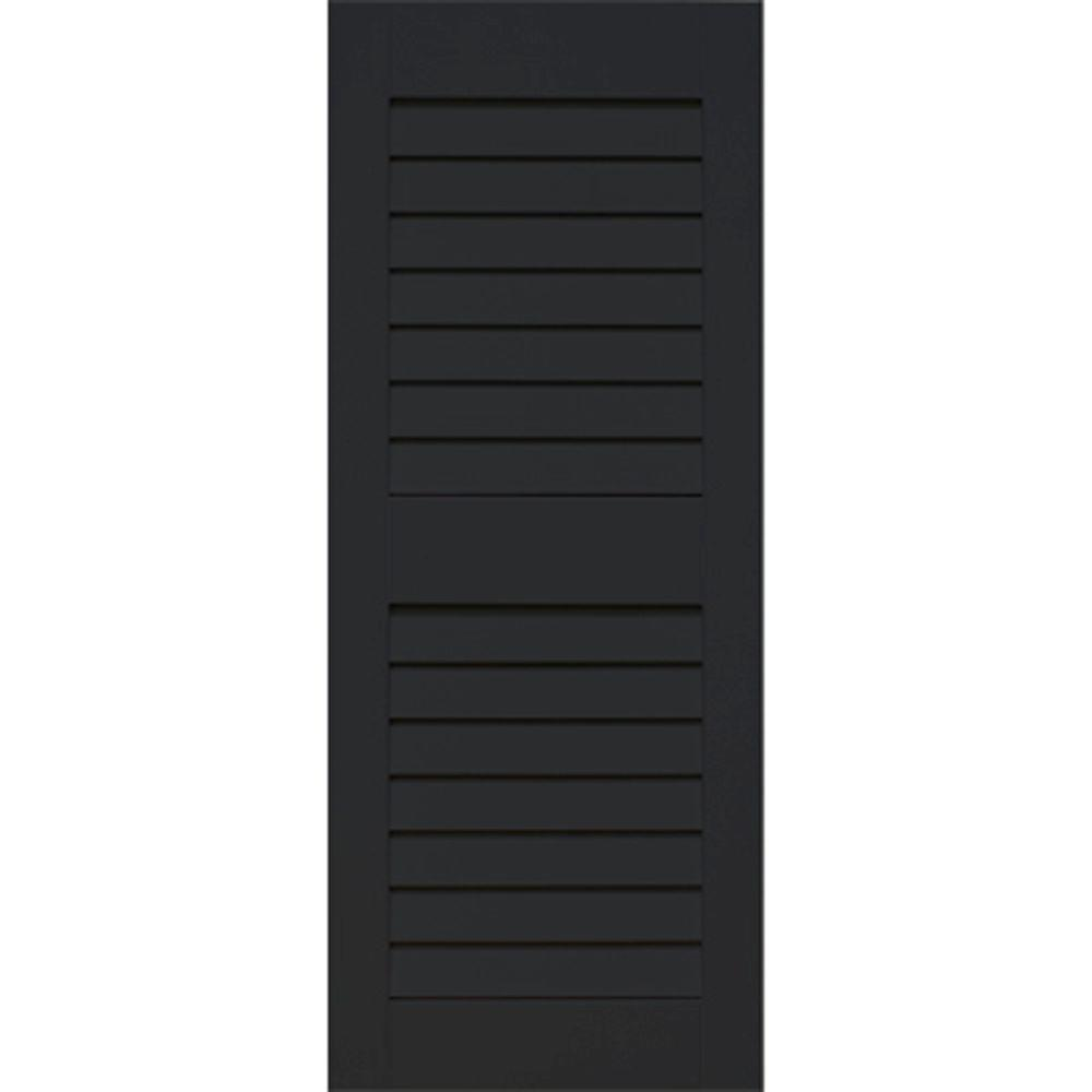 Home Fashion Technologies Plantation 14 in. x 53 in. Solid Wood Louvered Shutters Pair Behr Jet Black-DISCONTINUED