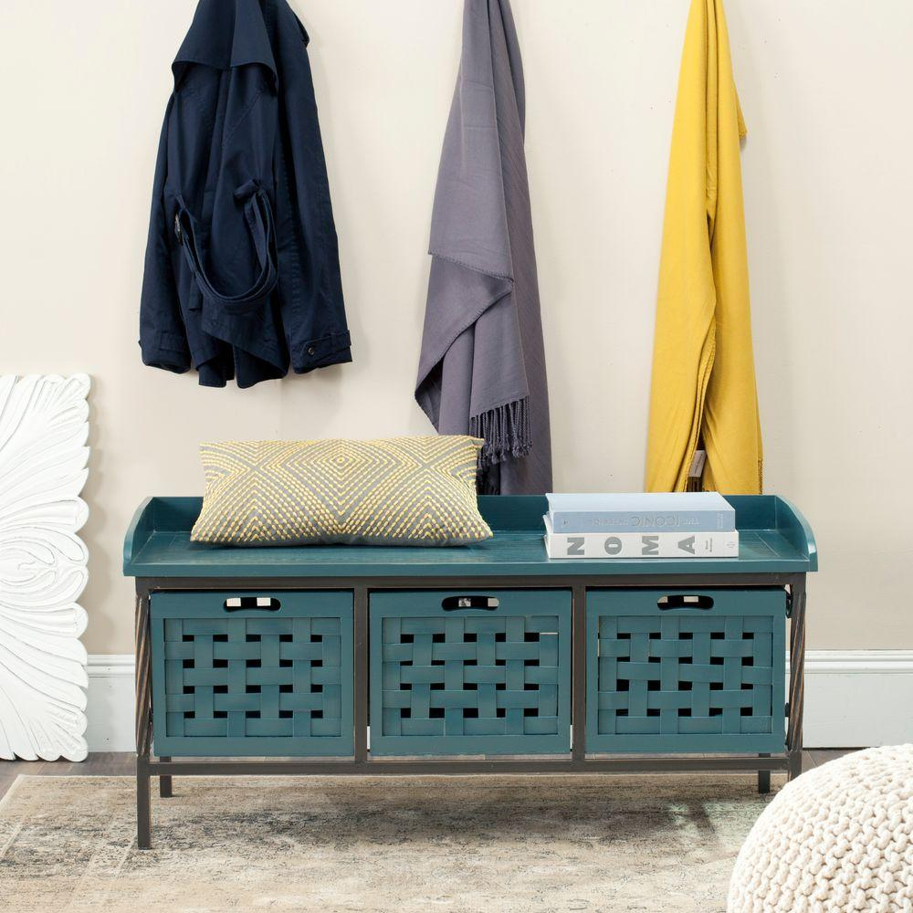 Isaac Slate Teal Storage Bench