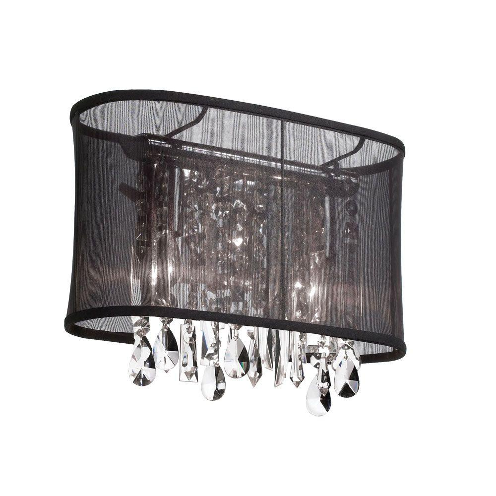 Radionic Hi Tech Bohemian 1-Light Polished Chrome and Black Crystal Sconce with Oval Organza Shade