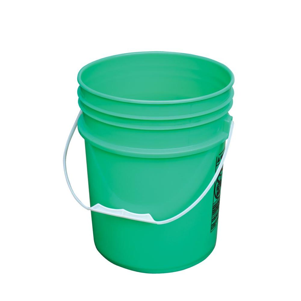 5 Gal. Green Open Head Pail with Plastic Handle