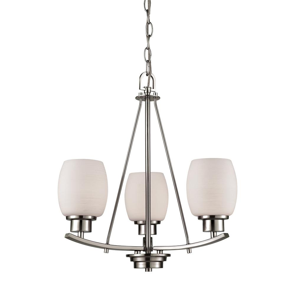Casual Mission 3-Light Brushed Nickel Chandelier With White Lined Glass Shades