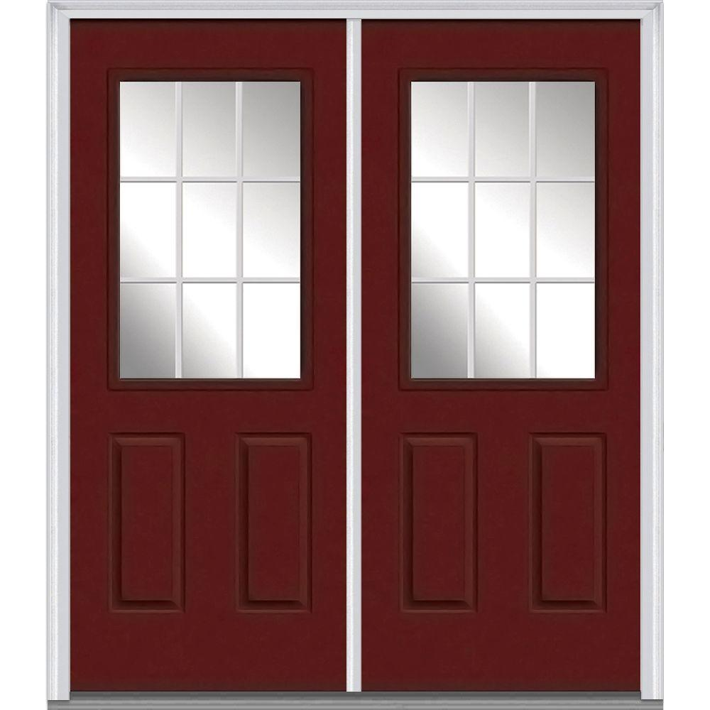 Milliken Millwork 74 in. x 81.75 in. Classic Clear Glass GBG 1/2 Lite 2 Panel Painted Majestic Steel Exterior Double Door, Red