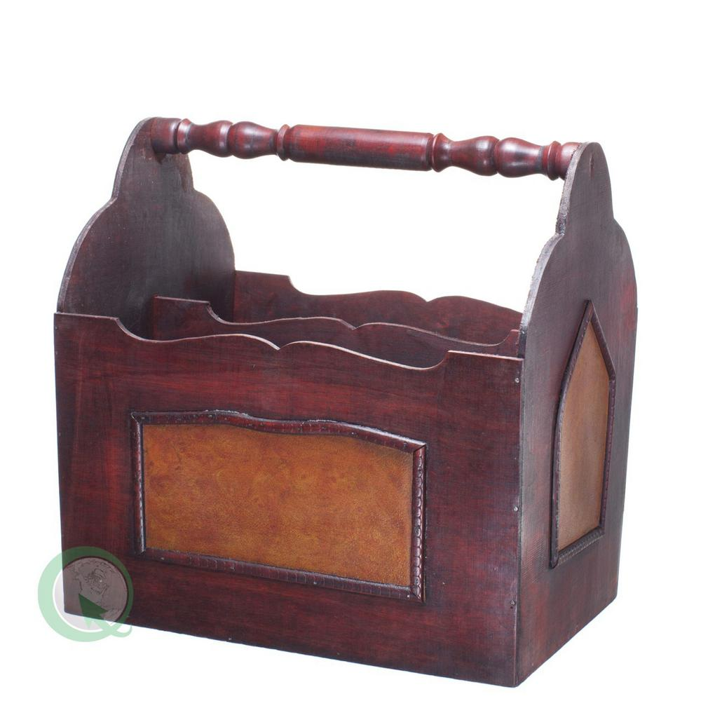 "13.4"" x 9.4"" x 13.8"" Handcrafted Decorative Wooden Magazine Rack"