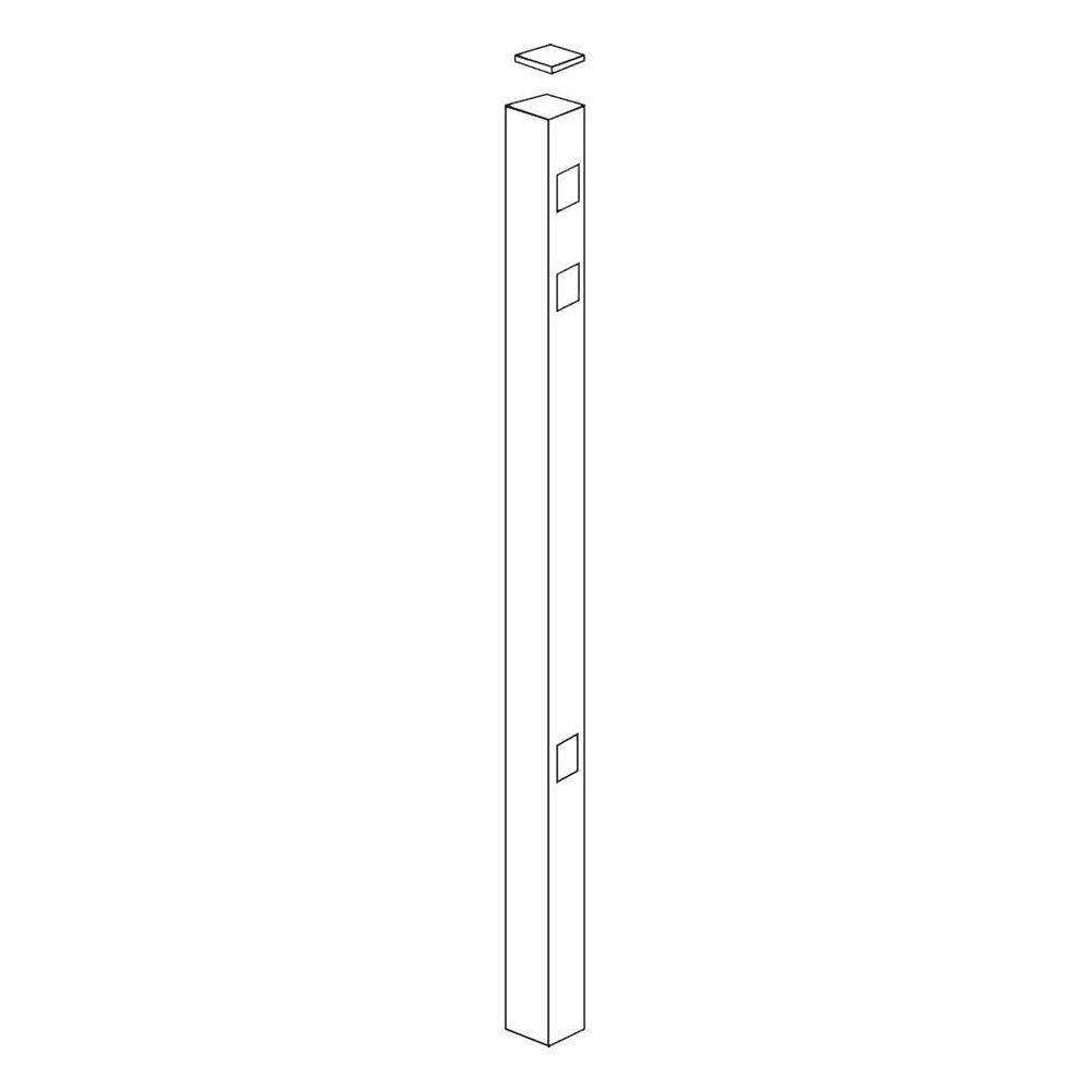 Allure Aluminum 82 in. Aluminum White Fence End/Gate Post Use with 54 in. Fence-DISCONTINUED