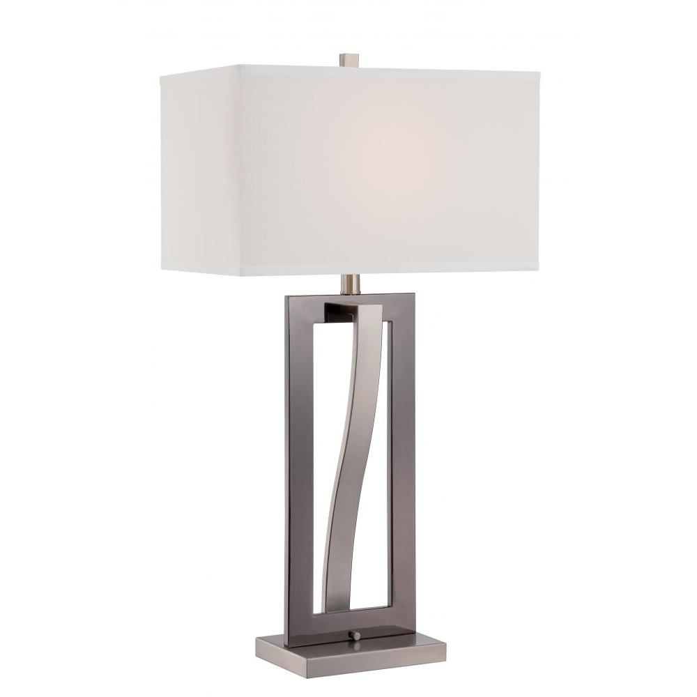 31.5 in. Polished Steel Table Lamp