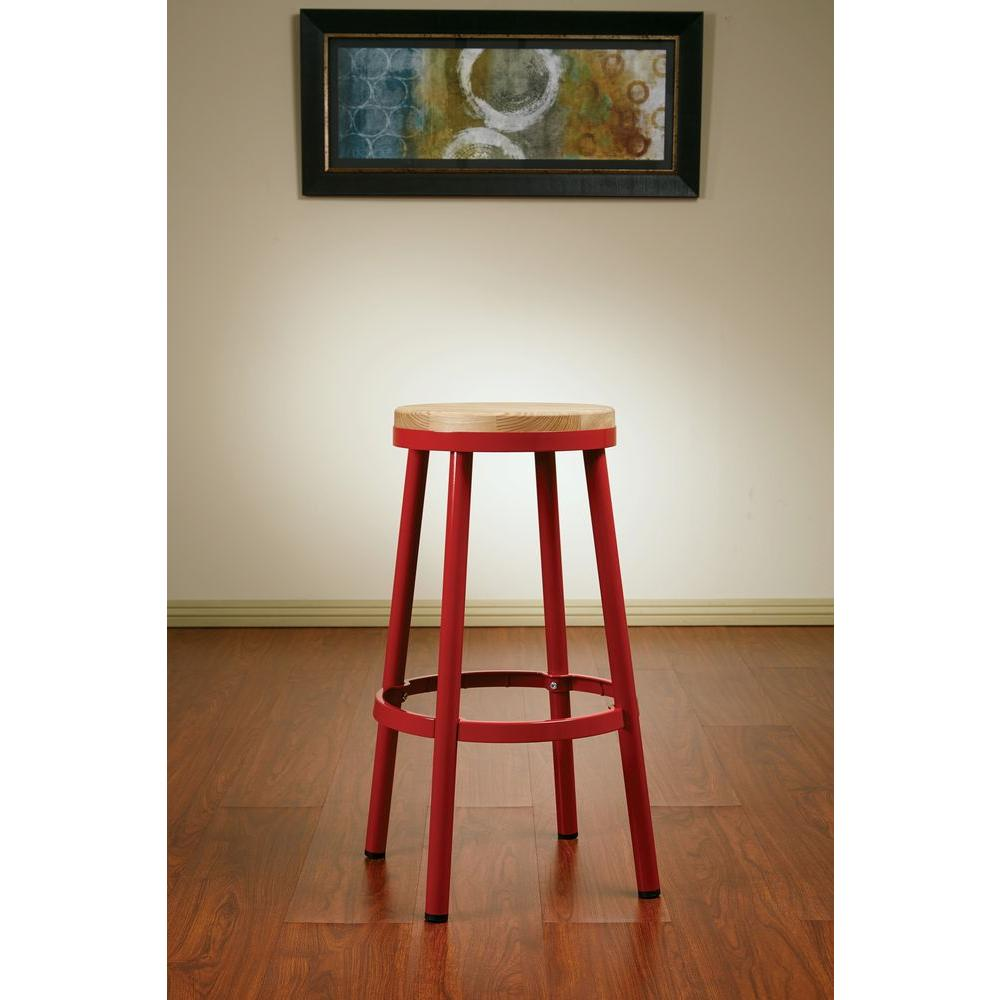 Bristow Metal 30 in. Bar Stool in Red