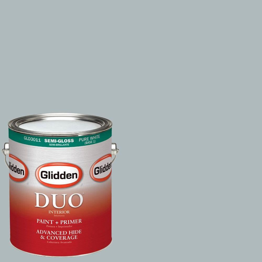 Glidden DUO 1-gal. #HDGCN41D Soft Feather Grey Semi-Gloss Latex Interior Paint