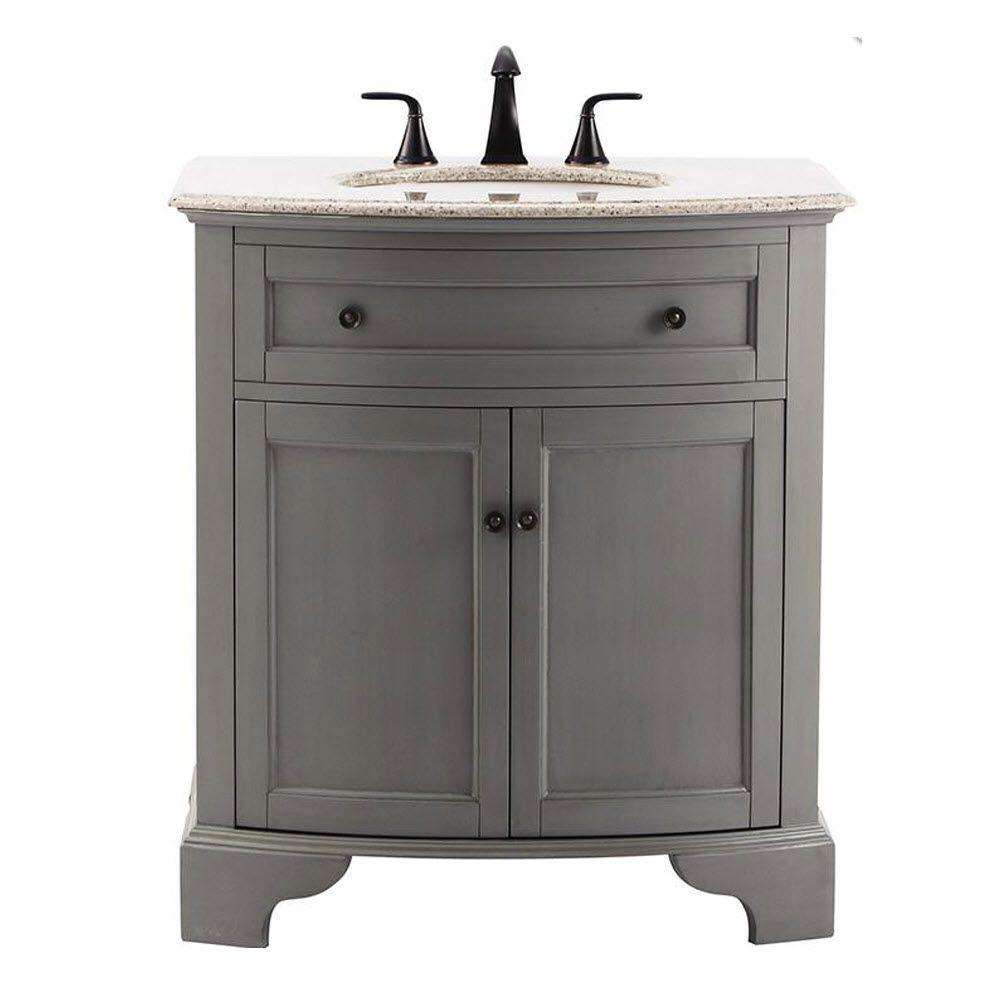 Home Decorators Collection Hamilton 31 in. Vanity in Grey with Granite Vanity Top in Grey with White Basin