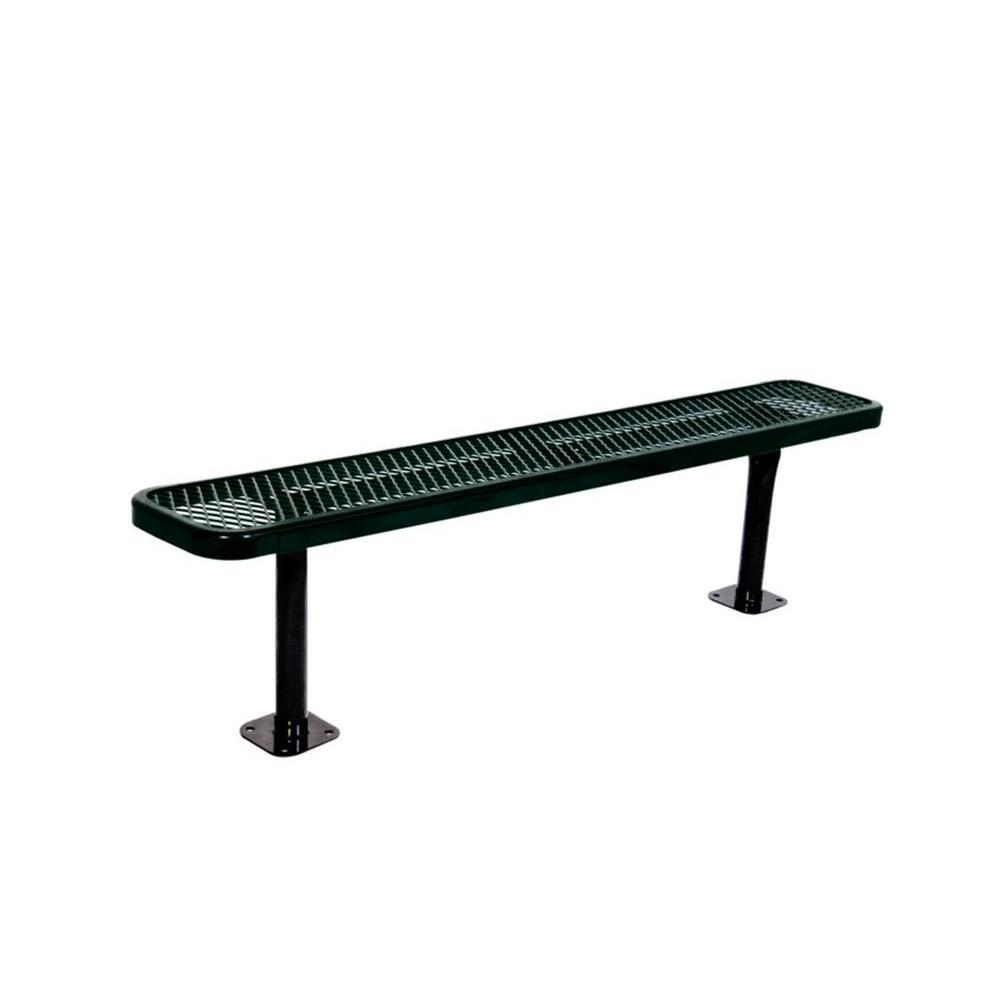 Ultra Play 6 in. Diamond Black Commercial Park Bench without Back Surface Mount