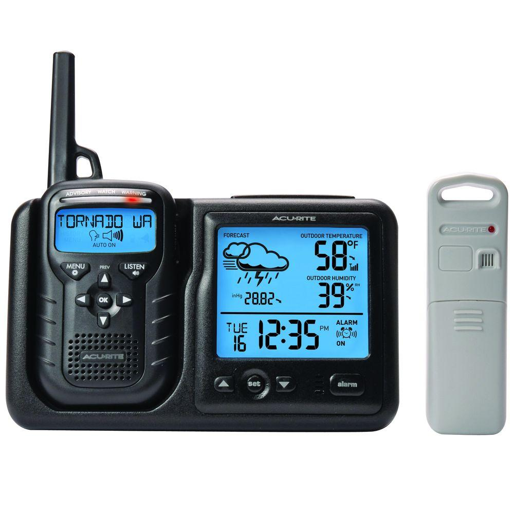 AcuRite Weather Gauges & Instruments Digital Weather Station plus Portable Weather Alert Noaa Radio with S.A.M.E. 08580