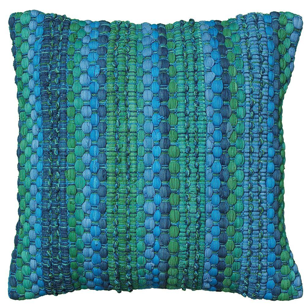 LR Resources Contemporary 18 in. x 18 in. Blue Square Decorative