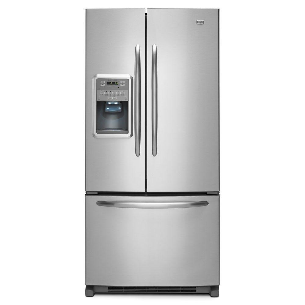 Maytag ICE2O 33 in. W 21.7 cu. ft. French Door Refrigerator in Monochromatic Stainless Steel