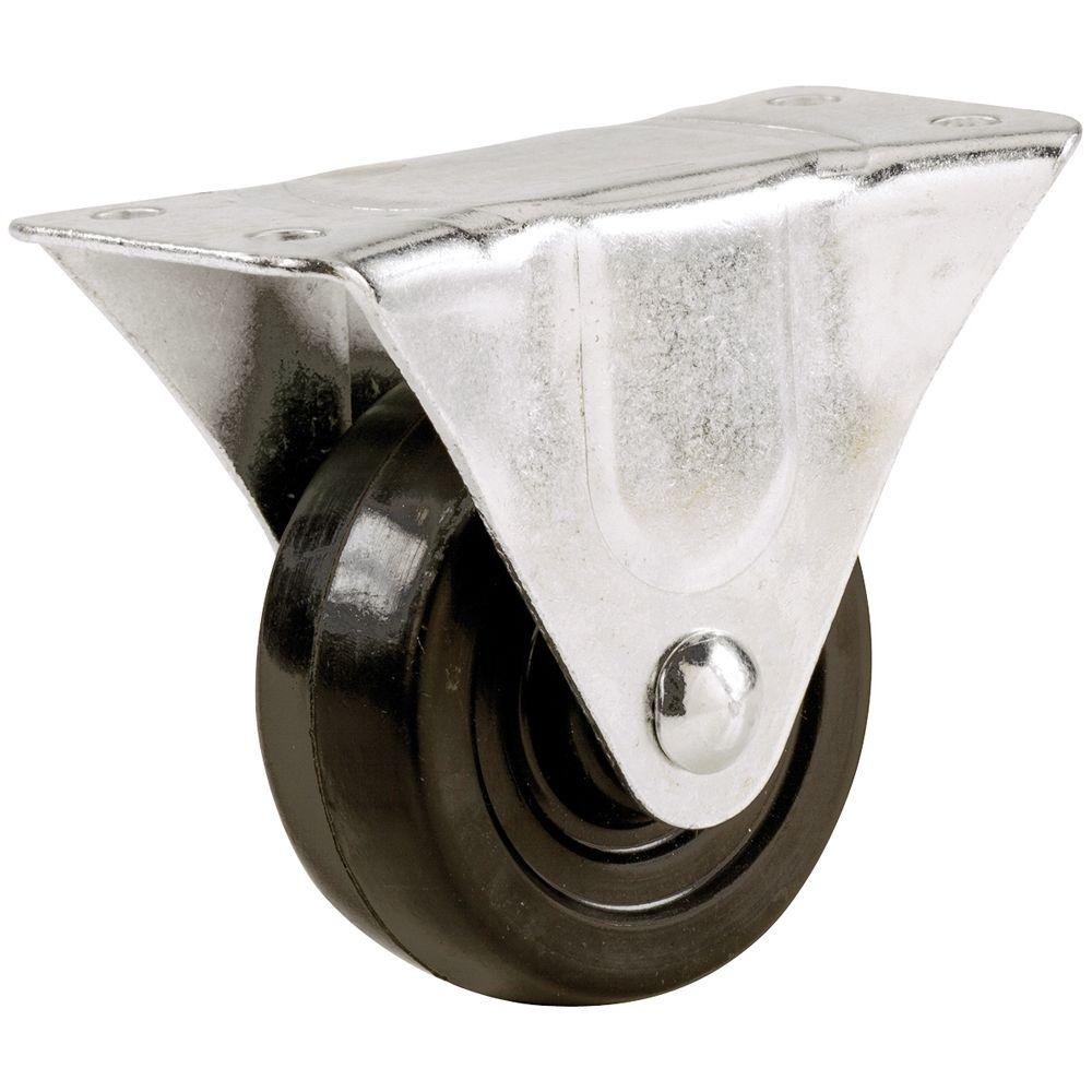 Everbilt 3 in. Soft Rubber Rigid Caster with 175 lb. Load Rating