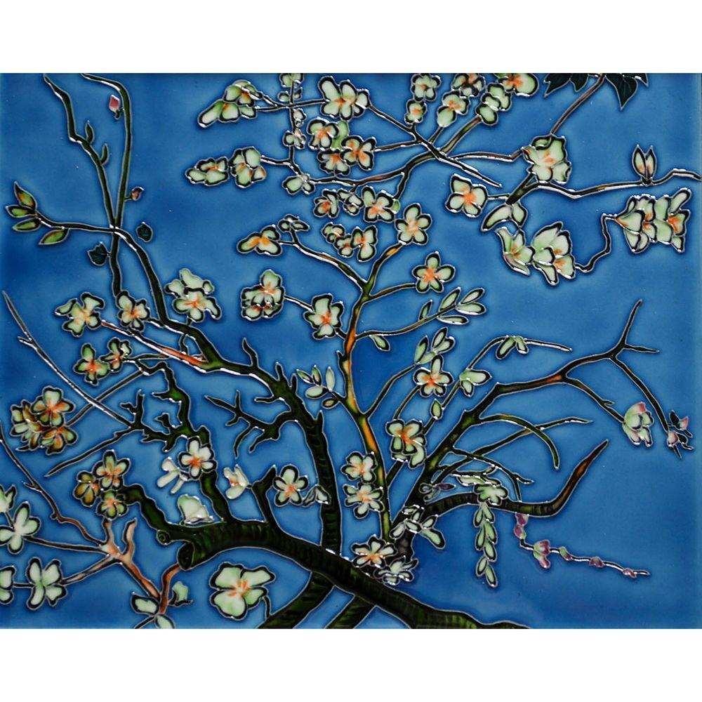 overstockArt Van Gogh, Branches of an Almond Tree in Blossom Trivet and Wall Accent 11 in. x 14 in. Tile (felt back)