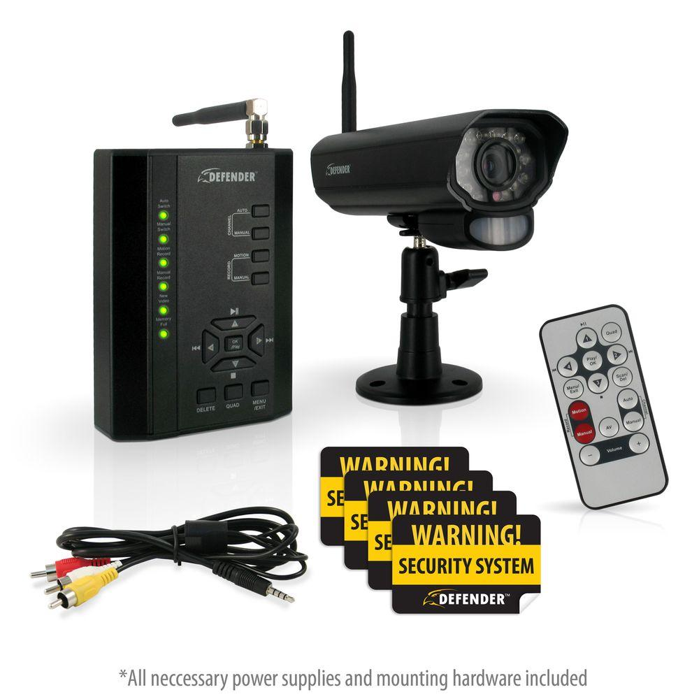 Defender Digital Wireless 4-Channel DVR Security System with receiver, SD Card Recording and Long Range Night Vision Cameras