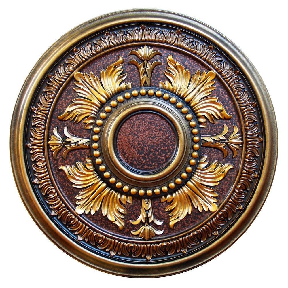 Fine Art Deco 30-5/8 in. Gilded Leaves, Bronze, Gold, Copper, Brass Polyurethane Hand Painted Ceiling Medallion