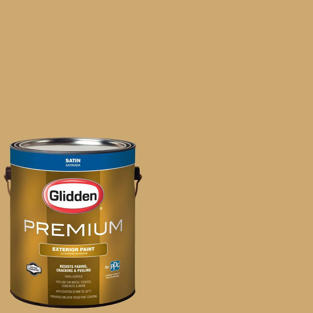 Glidden Premium 1 gal. #HDGY38D King's Ransom Gold Satin Latex Exterior