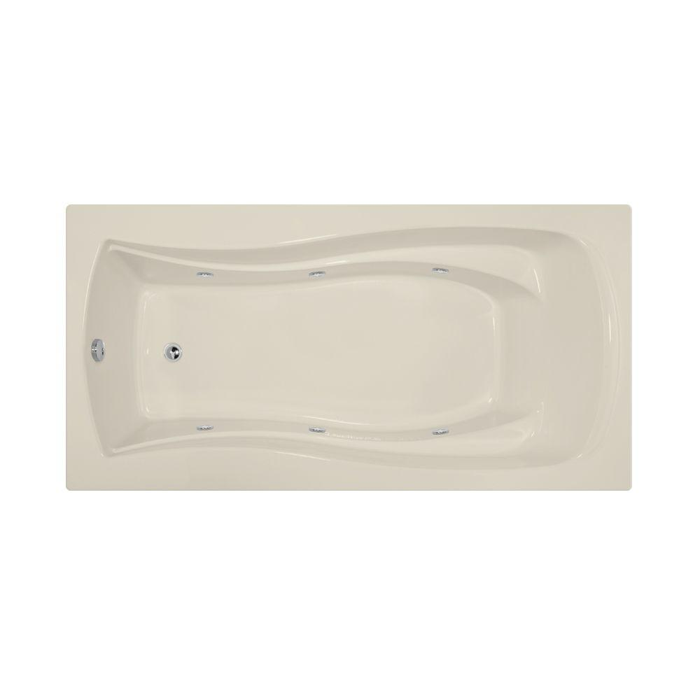 Charlotte 6 ft. Reversible Drain Whirlpool Tub in Biscuit