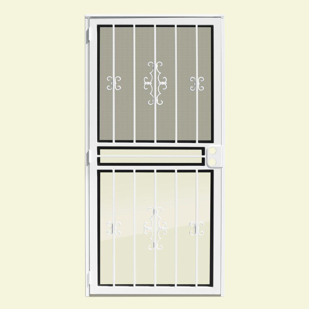 Unique Home Designs 36 in. x 80 in. Watchman Duo White Recessed Mount All Season Security Door with Insect Screen and Glass Inserts