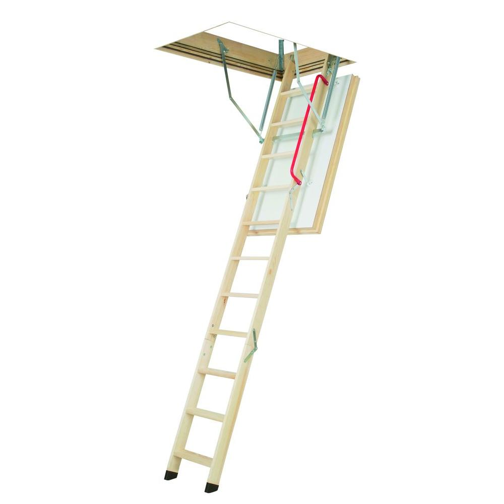 Fakro LWT 7 ft. 8 in. - 10 ft. 1 in., 25 in. x 54 in. Super-Thermo Wooden Attic Ladder with 300 lbs. Load Capacity