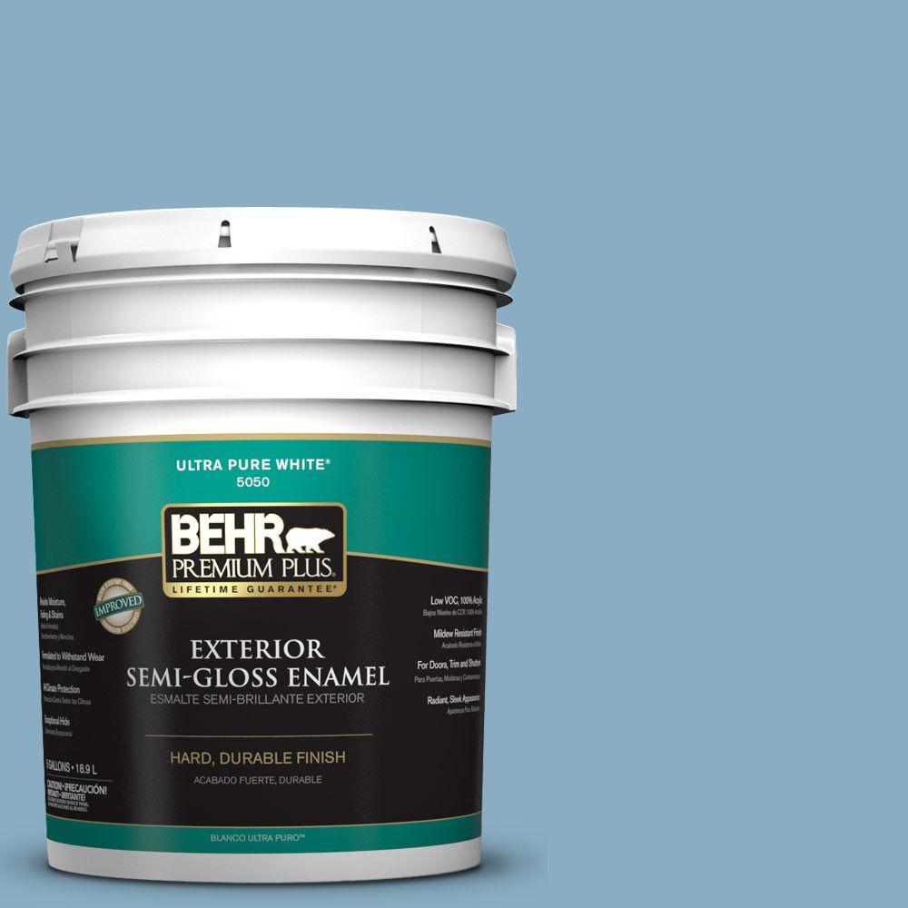 5-gal. #S500-4 Chilly Blue Semi-Gloss Enamel Exterior Paint