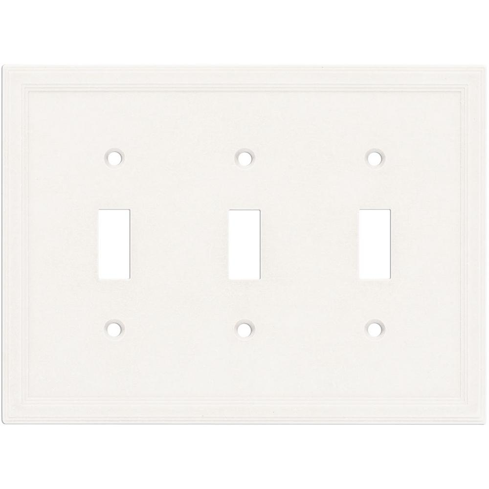 Hampton Bay 3-Toggle Wall Plate, Bright White-SWP1106-18 - The Home Depot