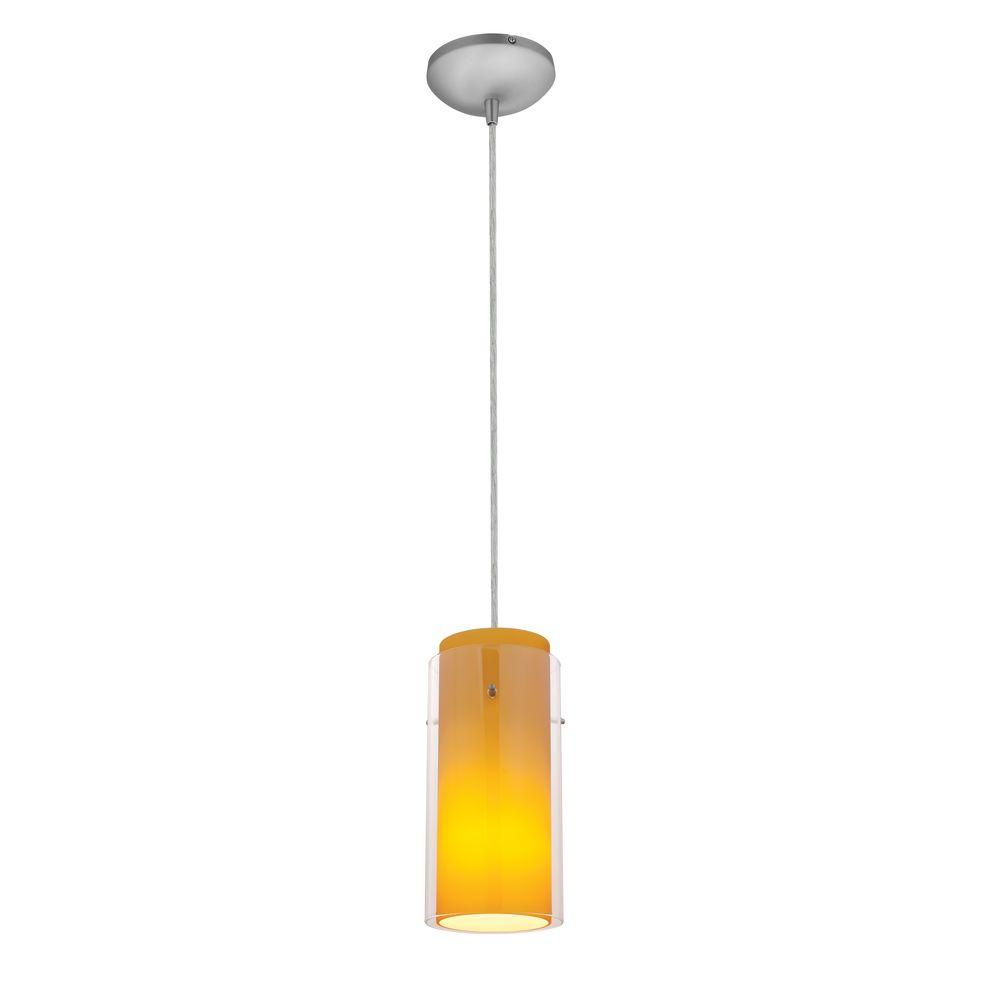 Glass'n 1-Light Brushed Steel Metal Pendant with Clear-Amber Glass Shade