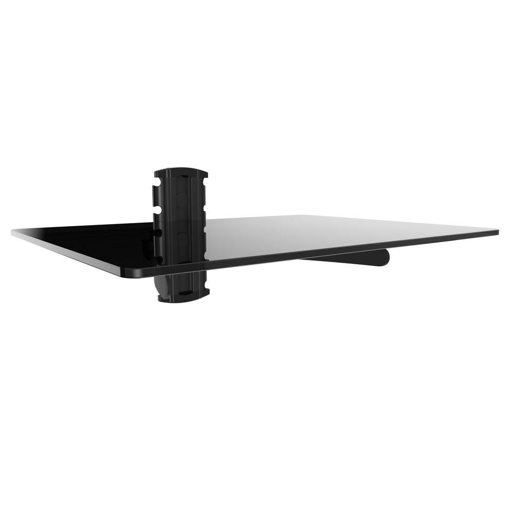 DVD Player Shelf Wall Mount with Black Tempered Glass and Aluminum