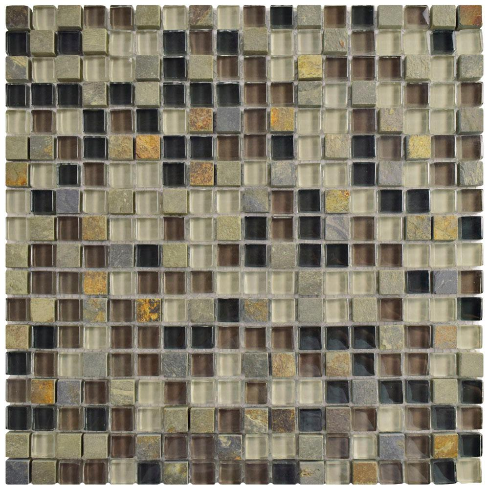 Merola Tile Tessera Mini Stonehenge 11-3/4 in. x 11-3/4 in. x 8 mm Glass and Stone Mosaic Tile, Multicolored Grey And Brown/Mixed Finish