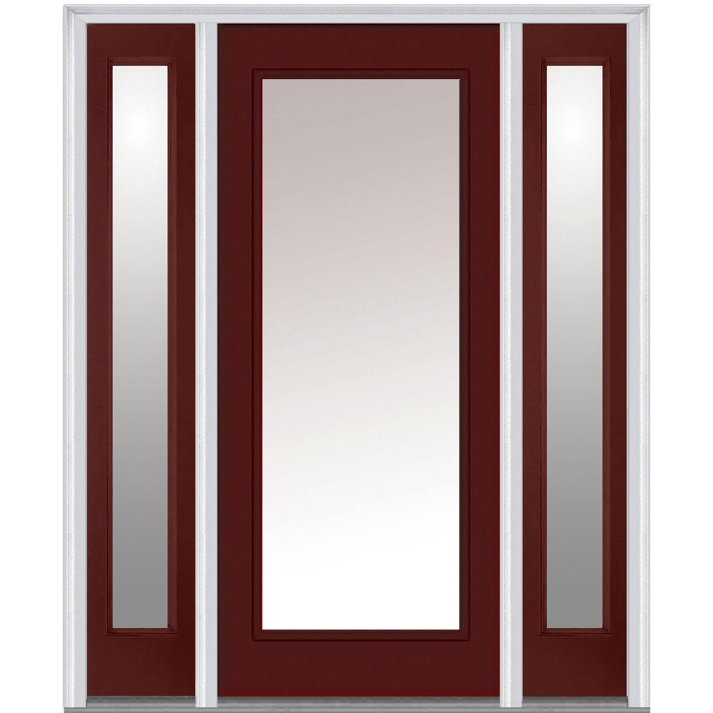 Milliken Millwork 68.5 in. x 81.75 in. Classic Clear Glass Full Lite Painted Fiberglass Smooth Exterior Door with Sidelites, Red
