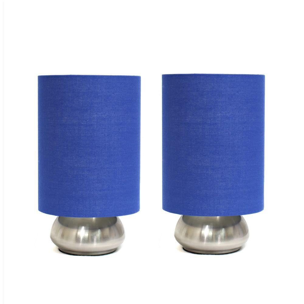Gemini 9 in. Brushed Nickel Base and Blue Two (2) Pack