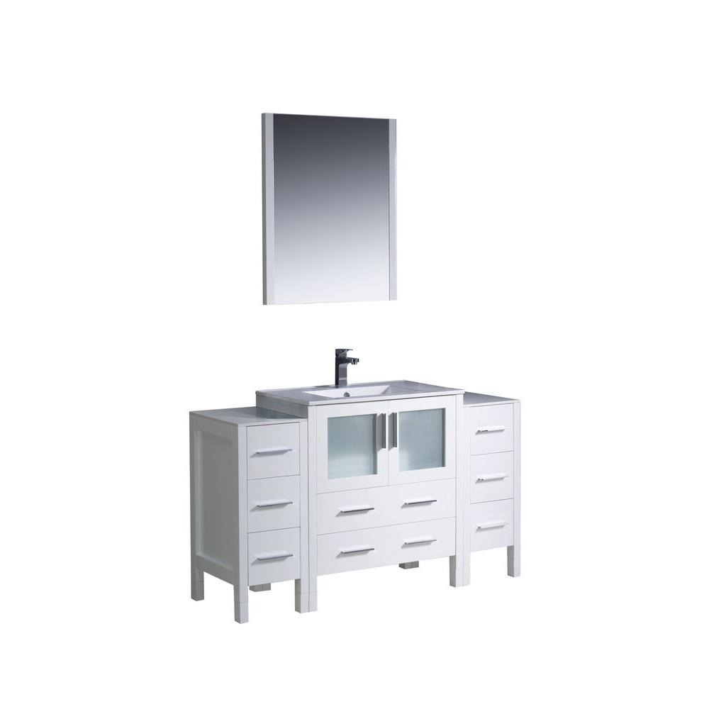 Fresca Torino 54 in. Vanity in White with Ceramic Vanity Top in White and Mirror