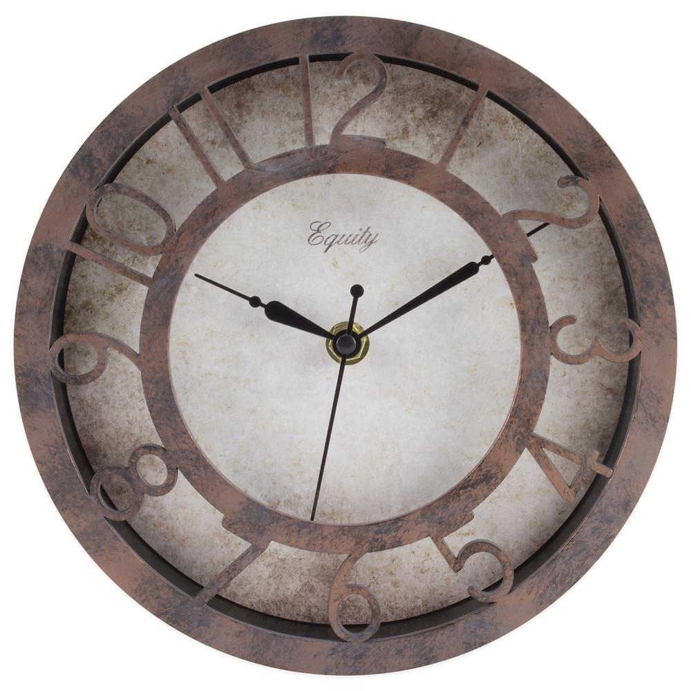 Equity by La Crosse 8 in. Round Patina Analog Wall Clock-20861