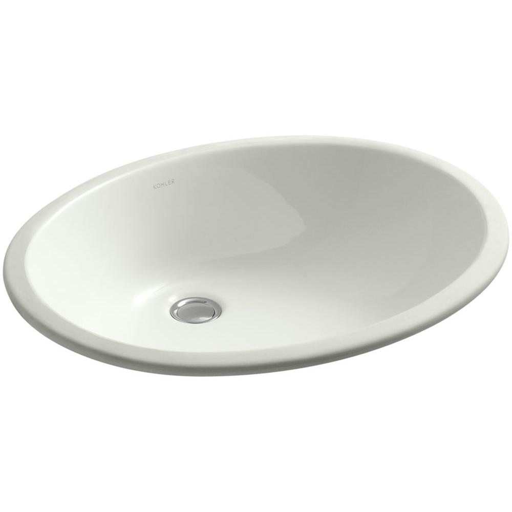 Caxton Vitreous China Undermount Bathroom Sink in Dune with Overflow Drain