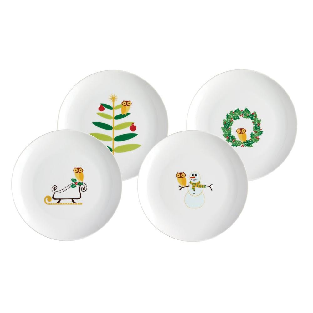 Rachael Ray Holiday Hoot 8 in. Dessert Plate (4-Pack)