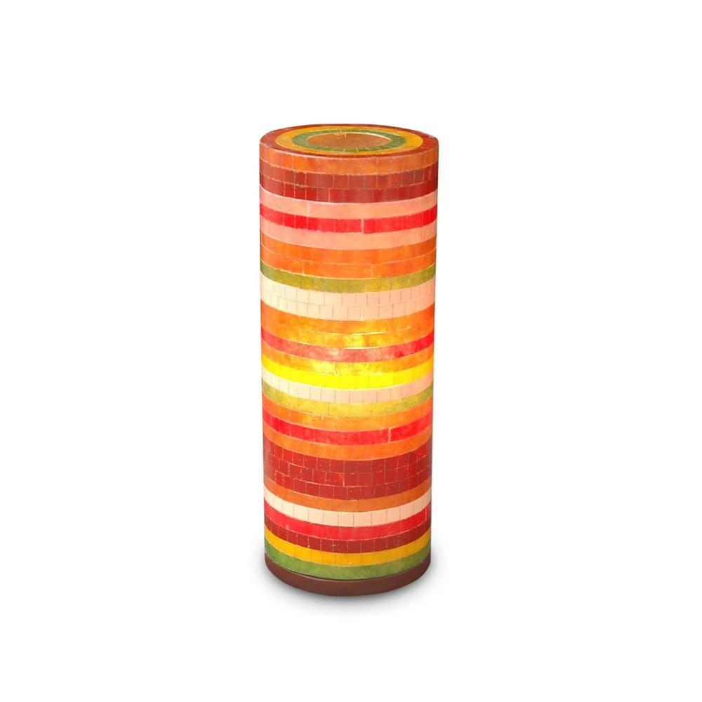Jeffan Santa Ana 21 in. Red, Yellow, Orange Green Multicolor Mosaic Table Lamp