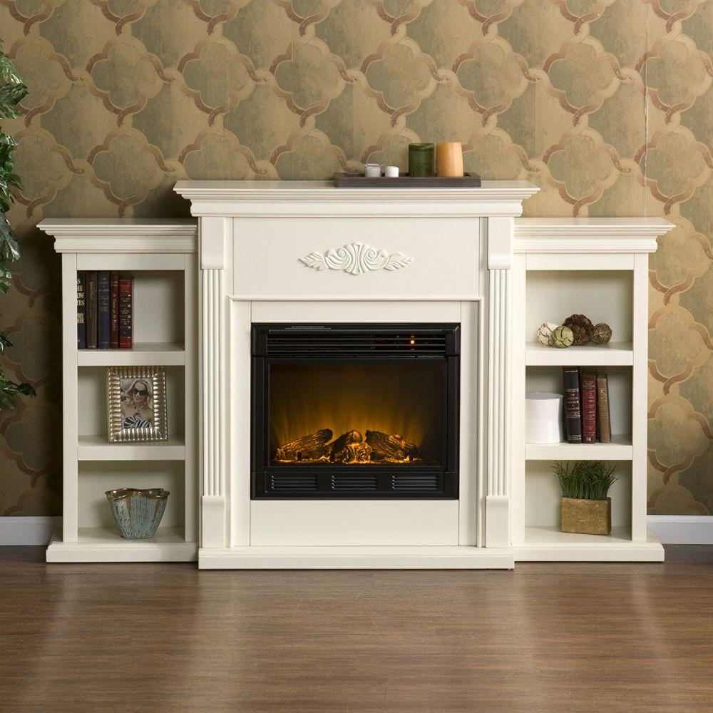 Southern Enterprises Tennyson 70 in. Electric Fireplace in Ivory with Bookcases